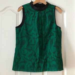 Tibi Green Black Leather Top Sleeveless Shirt 6 S
